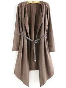 Khaki Long Sleeve Belt Loose Coat