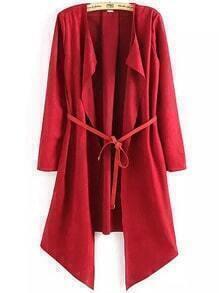Red Long Sleeve Belt Loose Coat