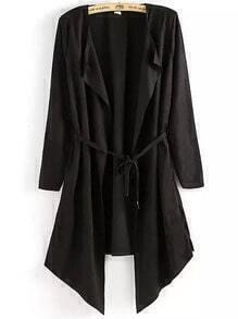 Black Long Sleeve Belt Loose Coat