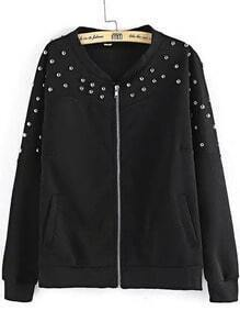 Black Long Sleeve Rivet Zipper Jacket