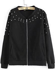 Black Long Sleeve Rivet Zipper Jacket