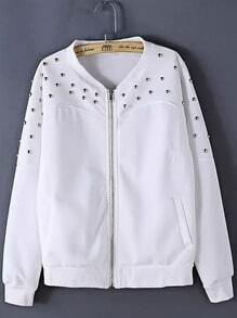 White Long Sleeve Rivet Zipper Jacket