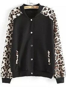 Black White Leopard Long Sleeve Buttons Jacket