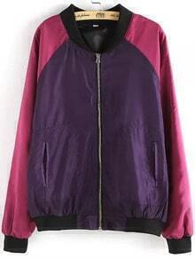 Purple Pink Stand Collar Zipper Loose Jacket