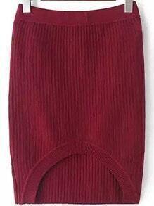 Red Slim Striped Pattern Bodycon Skirt