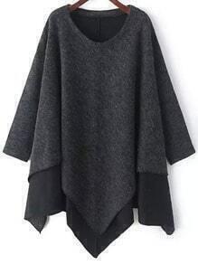 Grey Round Neck Contrast Hem Asymmetrical Sweater
