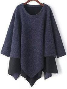 Navy Round Neck Contrast Hem Asymmetrical Sweater