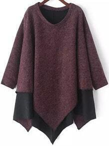 Red Round Neck Contrast Hem Asymmetrical Sweater