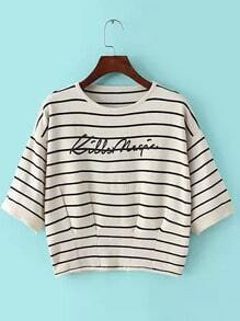 Beige Round Neck Striped Letters Print Sweater