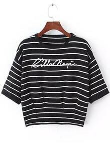 Black Round Neck Striped Letters Print Sweater