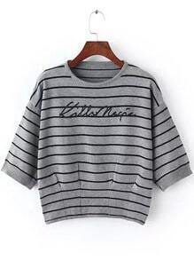 Grey Round Neck Striped Letters Print Sweater