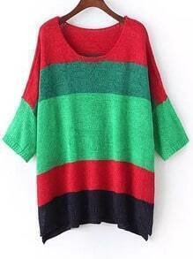 Multicolor Round Neck Batwing Loose Knit Sweater