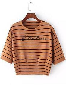 Khaki Round Neck Striped Letters Print Sweater