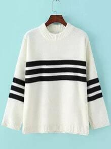 White Black Crew Neck Striped Knit Sweater