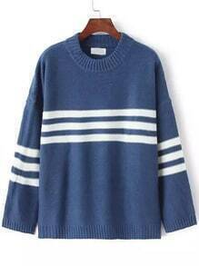 Blue White Crew Neck Striped Knit Sweater