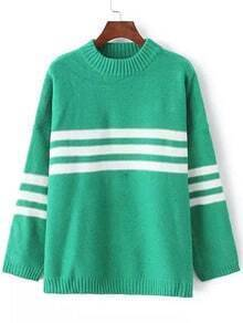Green White Crew Neck Striped Knit Sweater