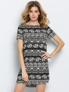 Black White Short Sleeve Elephant Print Dress