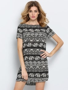 Black White Short Sleeve Camo Elephant Print Dress