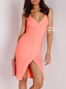 Orange Spaghetti Strap Backless Dress