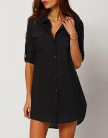 Black Long Sleeve Lapel Button Dress