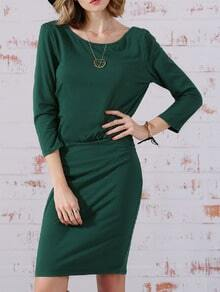 Green Long Sleeve Backless Dress