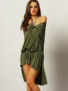 Army Long Sleeve High Low Dress