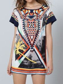 Multicolor Short Sleeve Vintage Print Dress