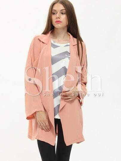 Pink Long Sleeve Asymmetric Trench Coat