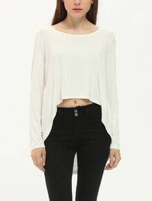 White Long Sleeve Backless High Low T-Shirt