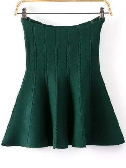 Knit Flare Green Skirt
