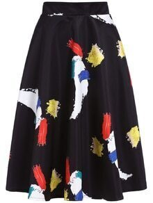 Abstract Print Flare Skirt