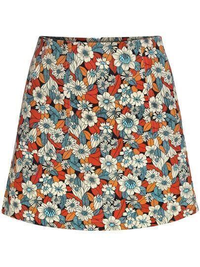 Floral Slim Multicolor Skirt