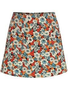 Floral Slim Multicolor Skirt