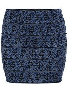 Embroidered Knit Bodycon Skirt