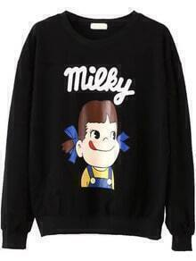 Cartoon Print Patterned Black Sweatshirt