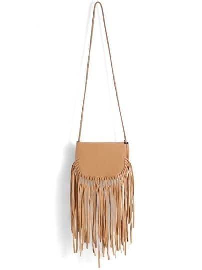 Khaki Tassel PU Shoulder Bag