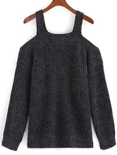 Off The Shoulder Knit Dark Grey Sweater