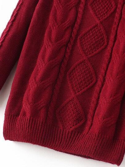 Cable Knit Loose Sweater -SheIn(Sheinside)