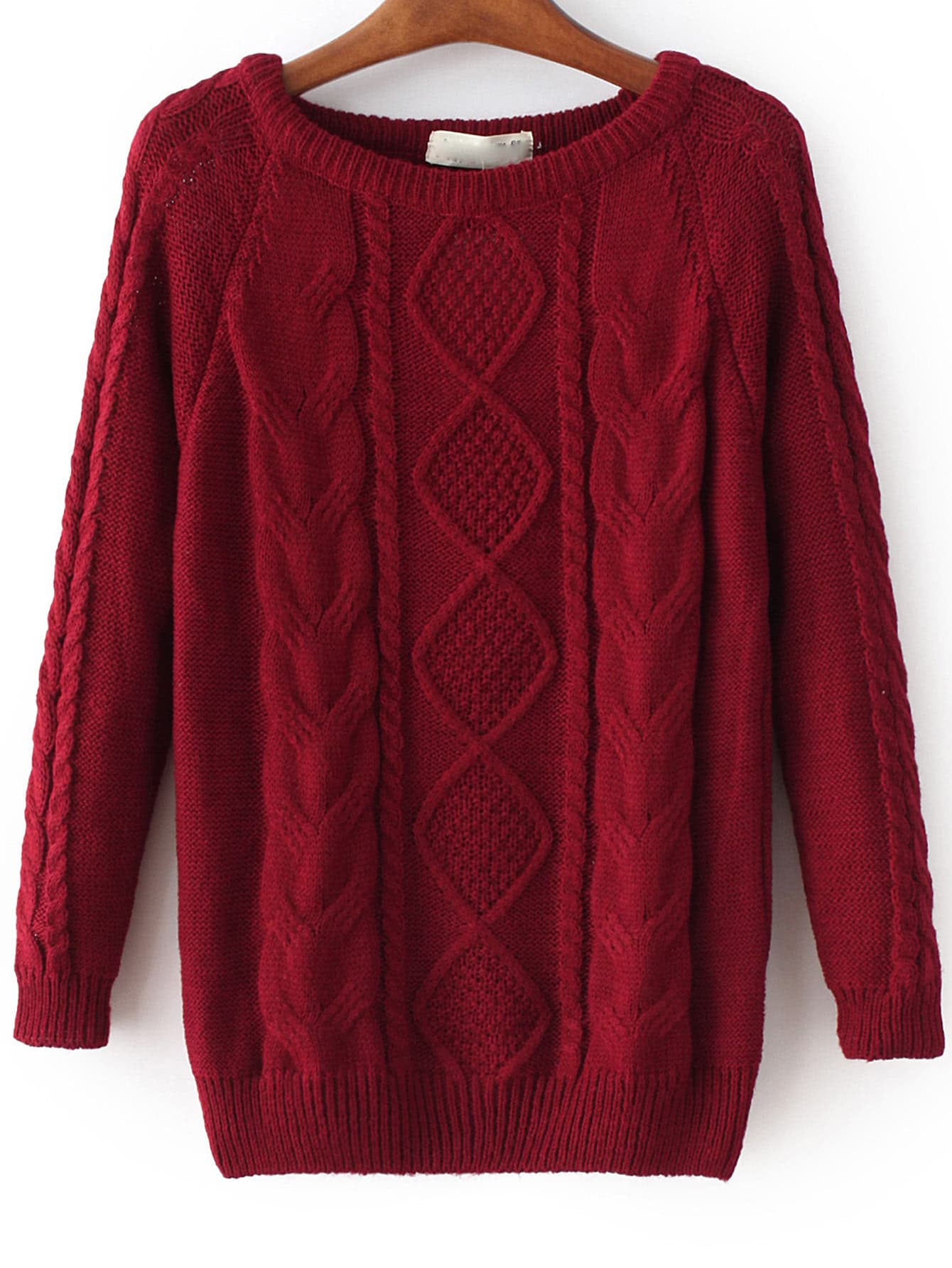 Cable Knit Loose Wine Red SweaterCable Knit Loose Wine Red Sweater<br><br>color: Burgundy<br>size: one-size