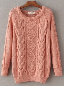 Cable Knit Loose Pink Sweater