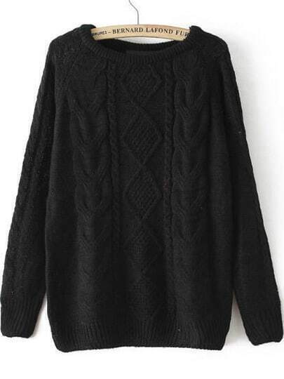 Cable Knit Loose Black Sweater