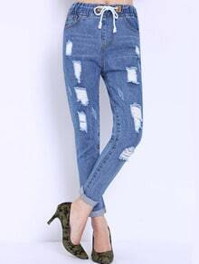 Drawstring Ripped Denim Pant