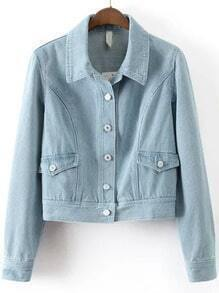 Blue Lapel Buttons Crop Denim Coat