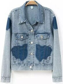Blue Lapel Buttons Denim Crop Coat