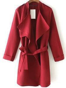 Red Epaulet Tie-waist Trench Coat