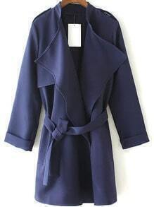 Navy Epaulet Tie-waist Trench Coat