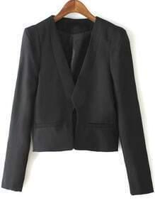 Black Long Sleeve Epaulet Crop Coat