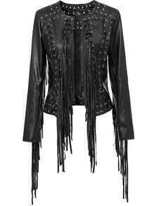 Black Long Sleeve Tassel Crop PU Jacket