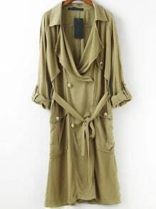 Army Green Lapel Double Breasted Trench Coat