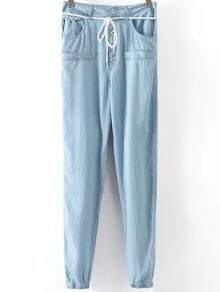 Blue Drawstring Waist Buttons Denim Pant